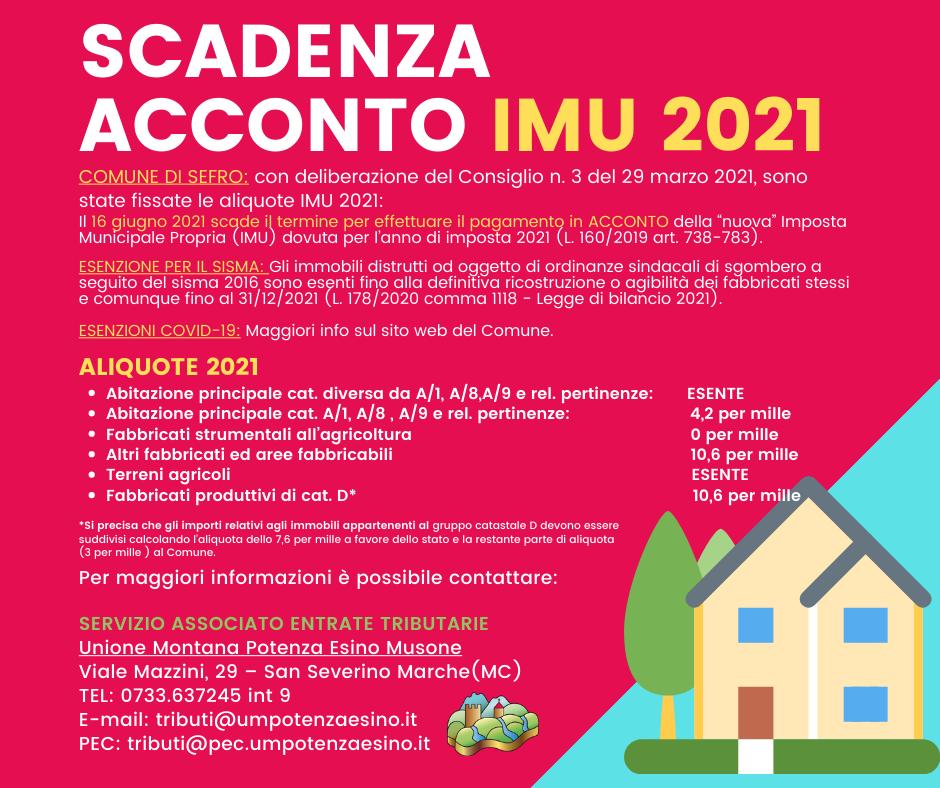 AVVISO ACCONTO IMU 2021 - SEFRO