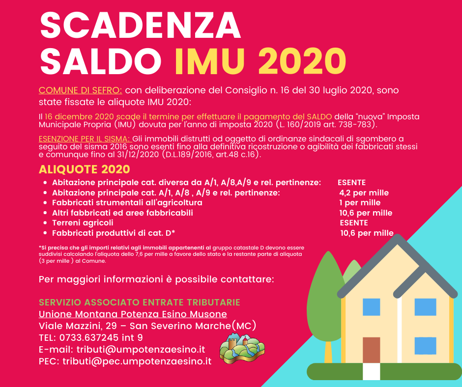 AVVISO SALDO IMU 2020 - SEFRO