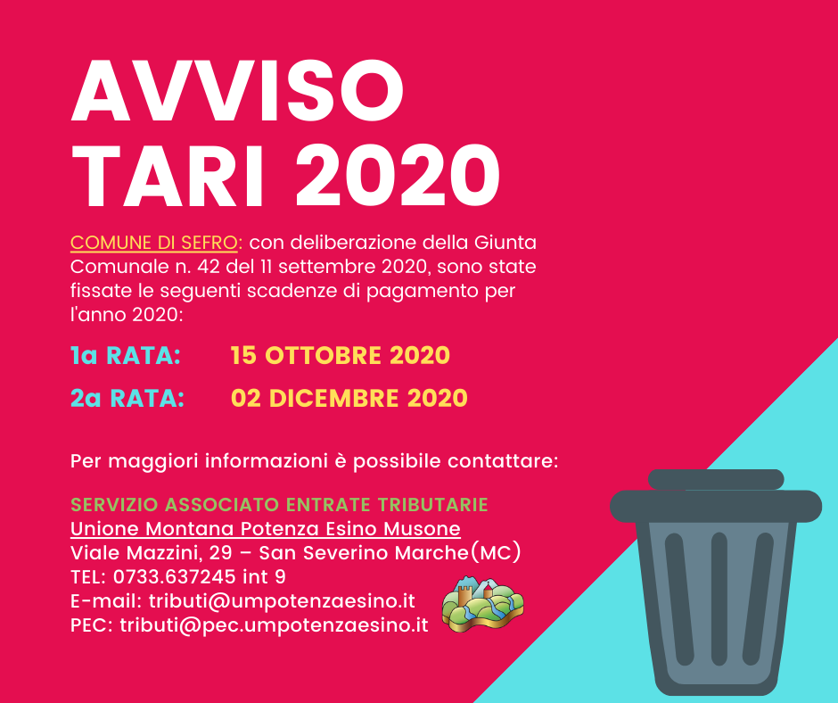 AVVISO TARI 2020 - SEFRO