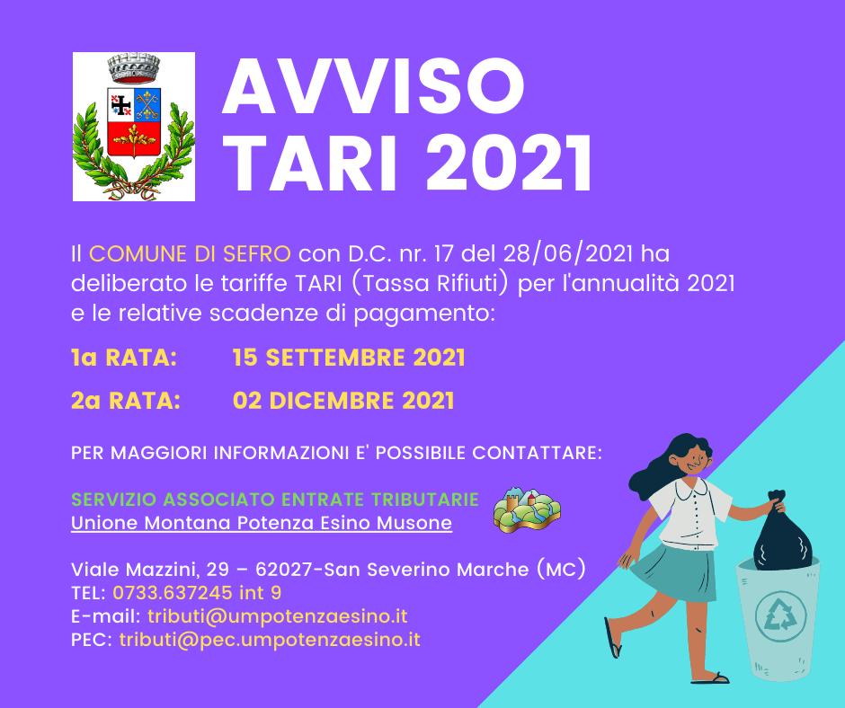 SEFRO- AVVISO TARI 2021
